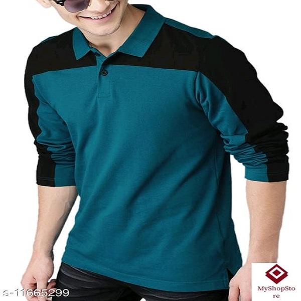 100% Cotton Regular Fit Polo Neck Full Sleeve Men's T-Shirt A