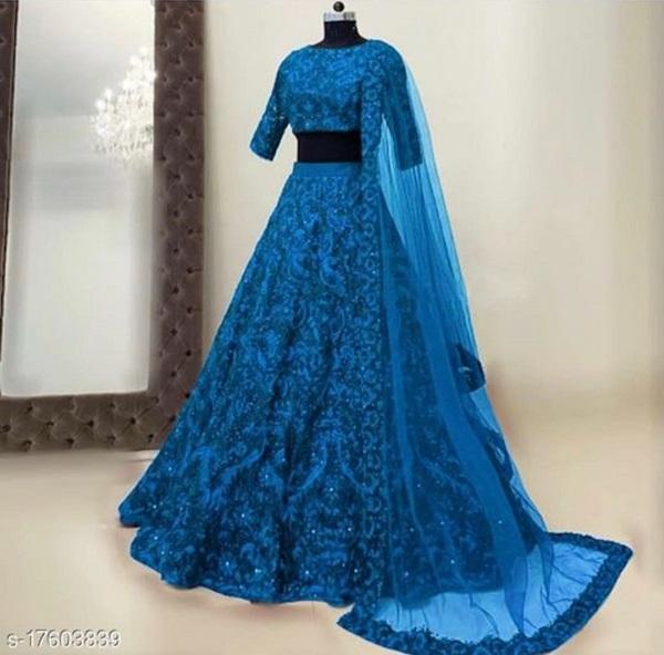 Aakarsha Voguish Women Lehenga With Dupatta blue