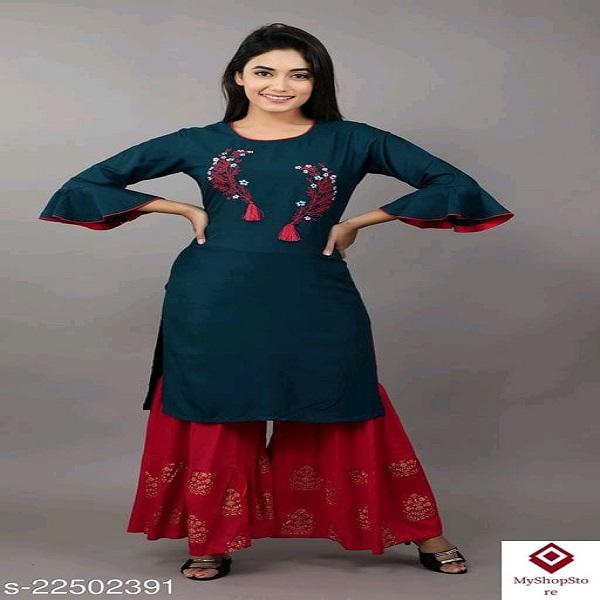 Attractive Women Kurta Sets With Sharara Type Bottomwear