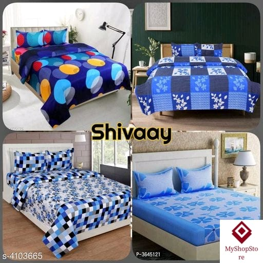 Fashionable Polycotton Double Bedsheets Combo (Pack Of 4) a