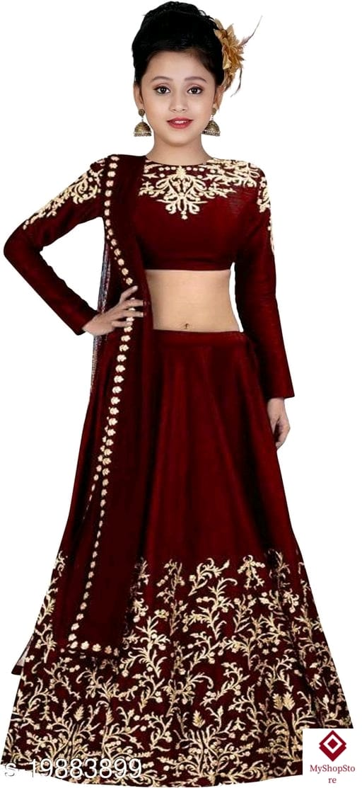 Girls Lehenga Choli Ethnic Wear Embroidered Lehenga, Choli