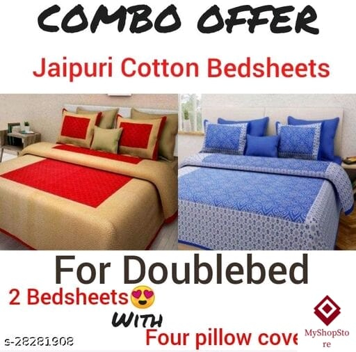 Jaipuri Cotton Bedsheets With Four Pillow Covers