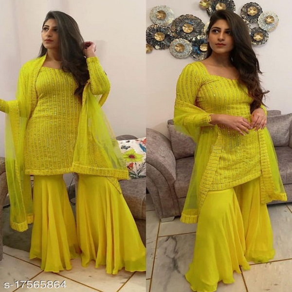 Krishna Tex Yellow Fox Georgette With Sequence Work Sharara Suit