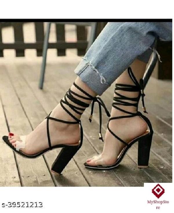 Trendy Women Heels Synthetic Pvc Sole Material