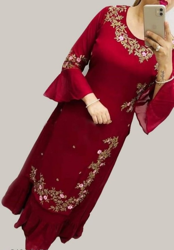 Women's Rayon Embroidery Attractive Kurtis