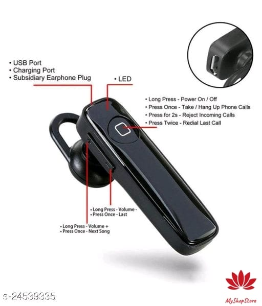 ABS Plastic Bluetooth Headphones & Earphones Headset with Mic