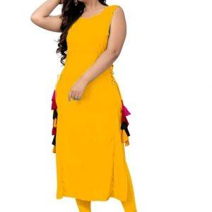 Aagam Fashionable Sleeveless Rayon Kurtis