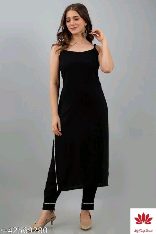 Attractive Women's Black Kurti Pant Set of Rayon