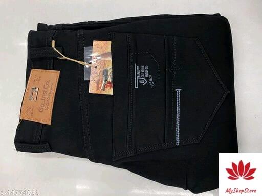 Designer Modern Men Jeans Solid Pattern