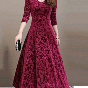 Fancy Designer Velvet Women Dresses Long Sleeves