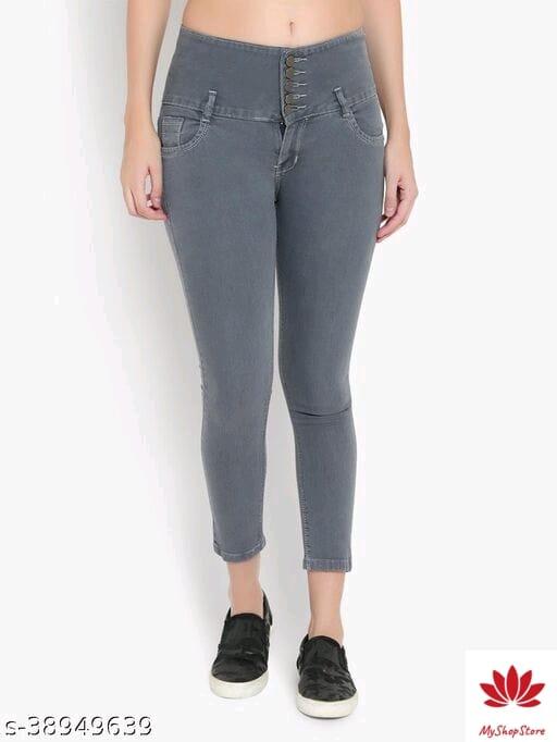 Fancy Latest Women Jeans Applique Surface Styling