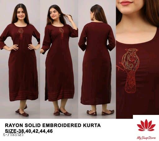 Women Front Slit Solid Three-Quarter Sleeves Kurti