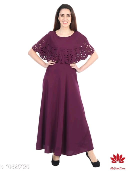 Women's Plain Long Gown With Short Sleeves